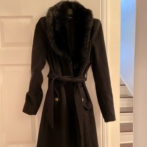 Faux Fur Collar Trench Coat